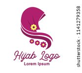 hijab logo with text space for... | Shutterstock .eps vector #1141279358