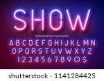 neon light alphabet ... | Shutterstock .eps vector #1141284425