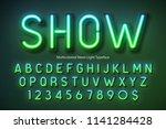 neon light alphabet ... | Shutterstock .eps vector #1141284428