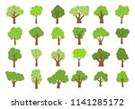 set of twenty four green trees...   Shutterstock . vector #1141285172