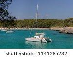 white yacht in a beautiful sea... | Shutterstock . vector #1141285232