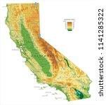 california physical map   Shutterstock .eps vector #1141285322