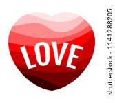 red heart on a white background ... | Shutterstock . vector #1141288205
