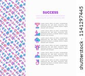 success concept with thin line... | Shutterstock .eps vector #1141297445