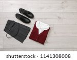 school uniform for girl on... | Shutterstock . vector #1141308008