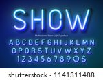 neon light alphabet ... | Shutterstock .eps vector #1141311488