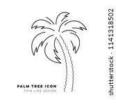 black vector single palm tree... | Shutterstock .eps vector #1141318502