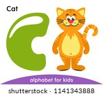 green letter c and yellow cat.... | Shutterstock .eps vector #1141343888