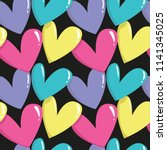 colorful hearts seamless... | Shutterstock .eps vector #1141345025