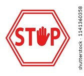 hand blocking sign stop red on...   Shutterstock .eps vector #1141360358