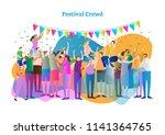 festival crowd vector... | Shutterstock .eps vector #1141364765