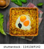 baked casserole of grated... | Shutterstock . vector #1141369142