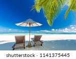 tranquil beach scene. exotic... | Shutterstock . vector #1141375445