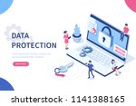 data protection concept with... | Shutterstock .eps vector #1141388165