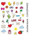 set of stickers in pop art... | Shutterstock .eps vector #1141394402