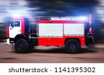 big red fire truck with special ... | Shutterstock . vector #1141395302