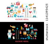 healthcare and medical icons on ... | Shutterstock .eps vector #1141395425