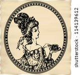 Vintage Engraved Lady With Cup...