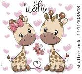 two cute cartoon giraffes on a... | Shutterstock .eps vector #1141403648