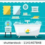 vector flat design bathroom... | Shutterstock .eps vector #1141407848
