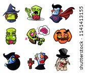 cute vector set with halloween... | Shutterstock .eps vector #1141413155