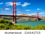 golden gate bridge vivid day... | Shutterstock . vector #114141715