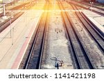 view of the railway from above.... | Shutterstock . vector #1141421198