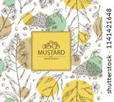 background with mustard  plant  ... | Shutterstock .eps vector #1141421648
