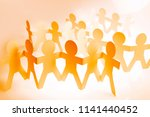 paper chain people teams... | Shutterstock . vector #1141440452