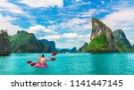 beautiful nature landscape of... | Shutterstock . vector #1141447145