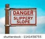 danger slippery slope warning...   Shutterstock . vector #1141458755