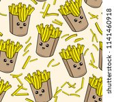 cute kids french fries pattern... | Shutterstock .eps vector #1141460918