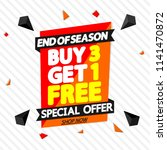 buy 3 get 1 free  sale tag ... | Shutterstock .eps vector #1141470872