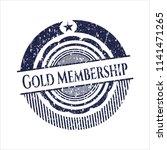 blue gold membership rubber seal | Shutterstock .eps vector #1141471265