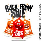 black friday sale  funny vector ... | Shutterstock .eps vector #1141477322