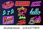 set of fashion neon sign. night ... | Shutterstock .eps vector #1141477895