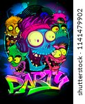art party poster design with... | Shutterstock .eps vector #1141479902