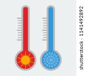thermometer icon. hot and cold. ... | Shutterstock .eps vector #1141492892