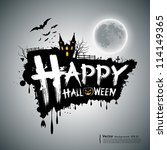 happy halloween message design... | Shutterstock .eps vector #114149365