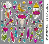 bohemian girly set of stickers  ... | Shutterstock .eps vector #1141496072