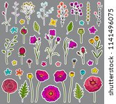 floral hand drawn stickers. set ... | Shutterstock .eps vector #1141496075