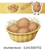 chicken eggs in basket icon.... | Shutterstock .eps vector #1141500752