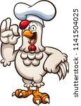cartoon chicken chef making the ... | Shutterstock .eps vector #1141504025