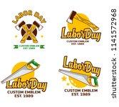 a set labor day logo emblem  | Shutterstock .eps vector #1141572968