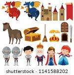 set of fantasy queen and king... | Shutterstock .eps vector #1141588202