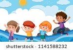 set of happy children at the... | Shutterstock .eps vector #1141588232