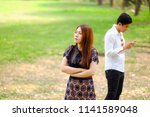 unhappy angry woman waiting to... | Shutterstock . vector #1141589048