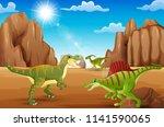 the dinosaur enjoy on desert of ...   Shutterstock .eps vector #1141590065
