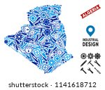 Service Algeria map composition of gearwheels, spanners, hammers and other tools. Abstract geographic scheme in blue color tints. Vector Algeria map is designed from mechanic parts.