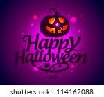 happy halloween card with...   Shutterstock .eps vector #114162088